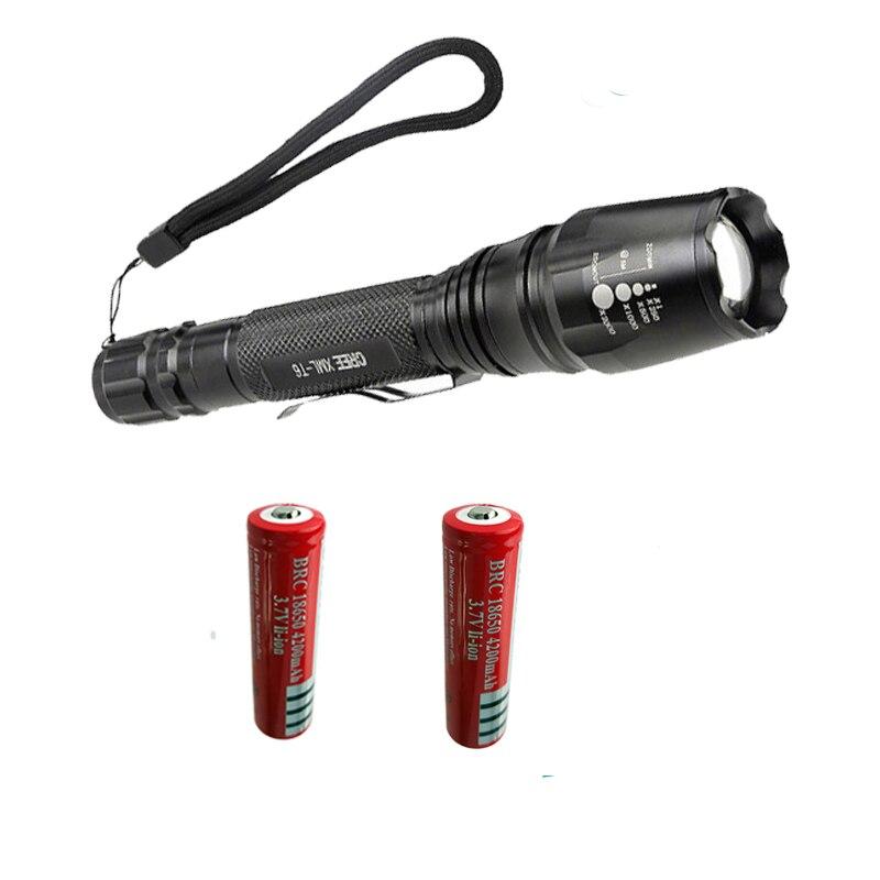 Z35 Lamp Light5-Modes CREE XM-L T6 5000LM LED Flashlight Torch use 2x18650 Batteries cree XM-L T6 led bright light cree xm l t6 bicycle light 6000lumens bike light 7modes torch zoomable led flashlight 18650 battery charger bicycle clip