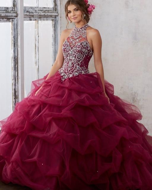 Vestidos De 15 Anos Debutante Gown Puffy Ball Quinceanera Dresses 2017 Burgundy Dress
