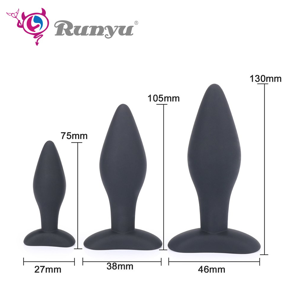 3pcs/<font><b>set</b></font> 3 Sizes Silicone <font><b>Anal</b></font> Plug Massage Butt Plug Anus Dilator No Vibrator Adult Buttplug <font><b>Sex</b></font> <font><b>Toys</b></font> For Women Man Gay image