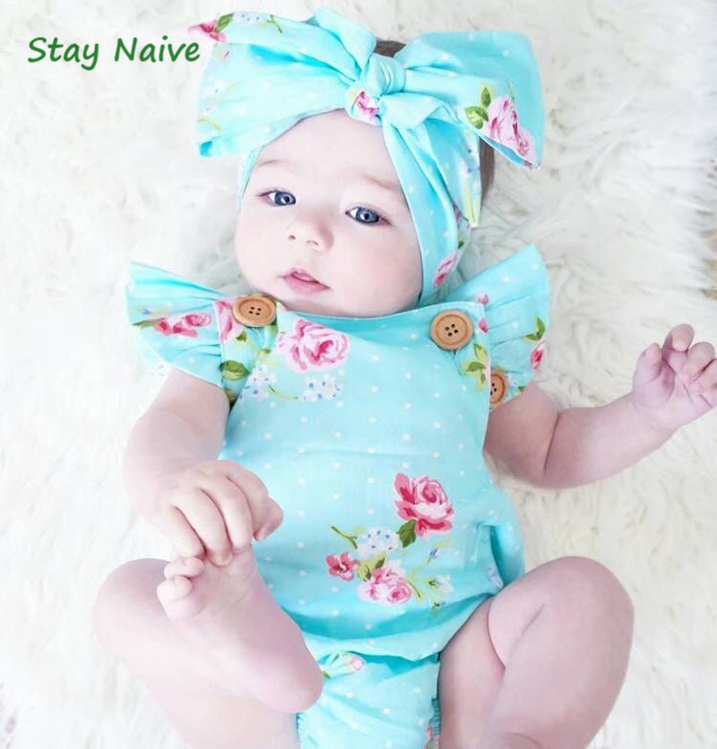 Stay Naive  2017 New Design Rompers Newborn Baby Cotton Ruffle Romper Girls Summer Style Clothing