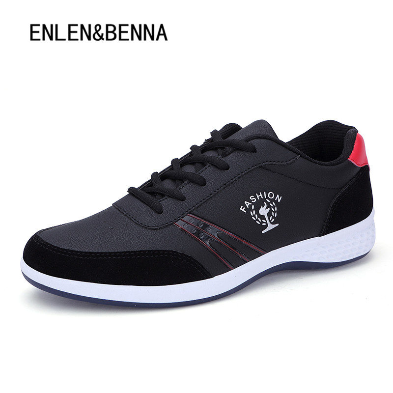 up 2018 Nero in Leather Sneakers microfibra bianco Casual blu Outdoor New Shoes Bianco Uomo Nero Men Lace Spring Moda q1rawx1X