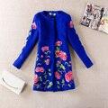 2016 high fashion women's floral embroidery wool coat long jacket plus size women's casual winter outwear coat M-XXXL DX060