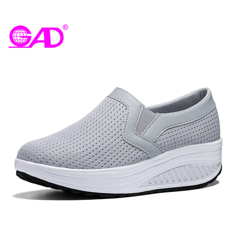 GAD Spring/Summer New Platform Sneakers Women Mesh Breathable Casual Shoes Round Toe Slip-on Women Swing Shoes Large Size 35-43 apple summer new arrival men s light mesh sports running shoes breathable fly knit leisure comfortable slip on sneakers ap9001