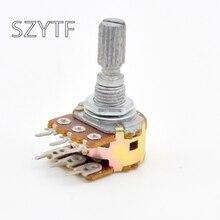 10 шт./пакет WH148 сдвоенный потенциометр 10K 20K 50K 100K. L: 15 мм