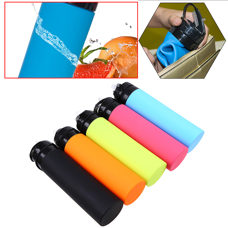 WCIC 600ML Creative Soft Collapsible Drink Water Bottle Silicone Foldable Roll-Up Bottle Drinkware