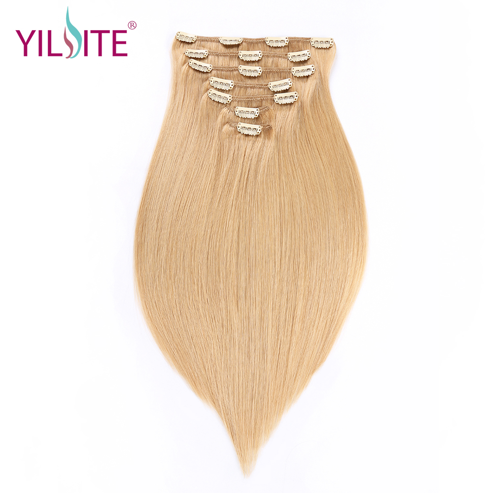 YILITE Free Shipping Silky Straight Remy Hair Clips Hair Extensions, 14inch 16# Double Drawn Human Hair Clips In Hair Weft