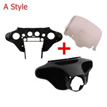 "Motorcycle 8"" Batwing Inner Outer Fairing Windshield For Harley Touring Electra Glide Street Road King 1996 2013"