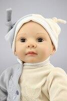 22 дюймов 55 см Глаза открываются и закрываются Мягкие силиконовые возрождается куклы младенца реалистичной реалистичные для маленьких дево