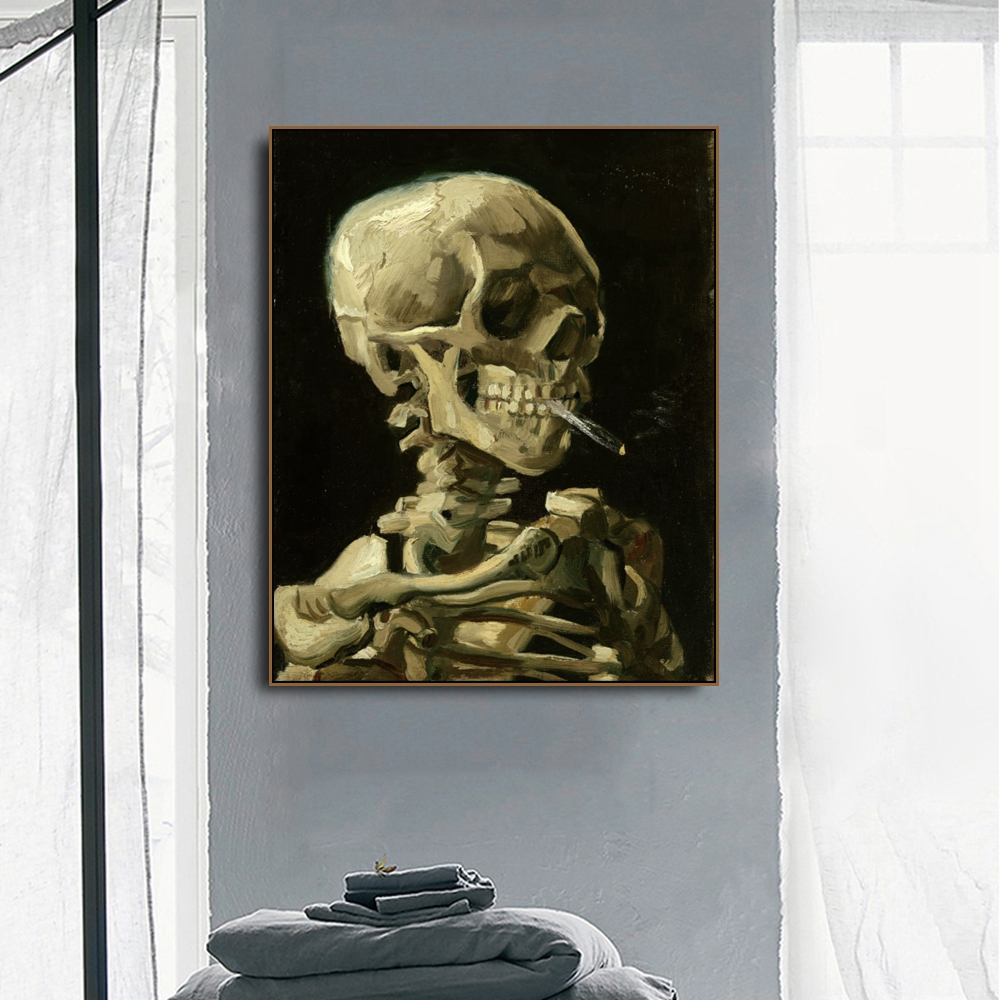 Head of a skeleton by Von Gogh Poster Print Canvas Painting Calligraphy Home Decor Wall Art Pictures for Living Room Bedroom in Painting Calligraphy from Home Garden