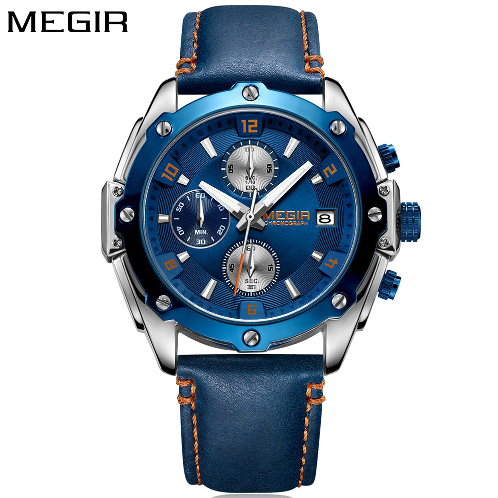 MEGIR New Fashion Mens Watches Men Top Brand Luxury Waterproof Quartz Sport Watch Men Wristwatch Clock Male relojes hombre 2018 belbi watches men luxury top brand new fashion leisure men s watches quartz watch male wristwatch waterproof relogio masculine
