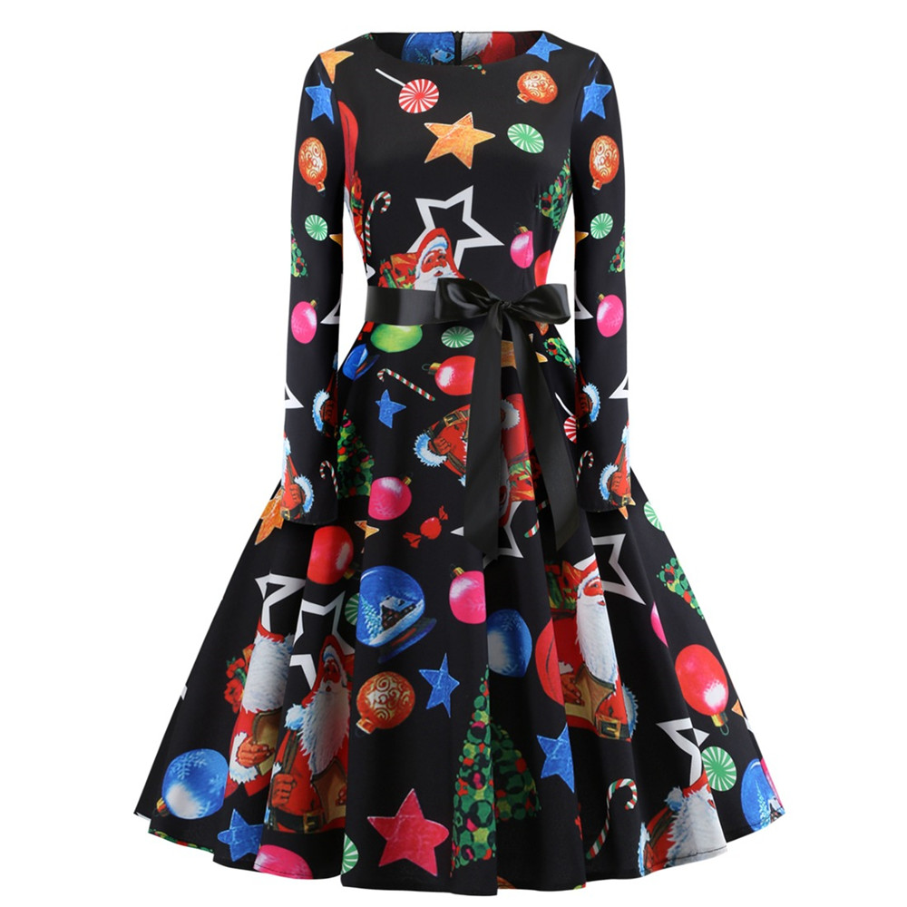 Fashion Winter Vestido Christmas Stocking Print Women's Retro Christmas Dress Santa Claus Print  Party Dresses costumes