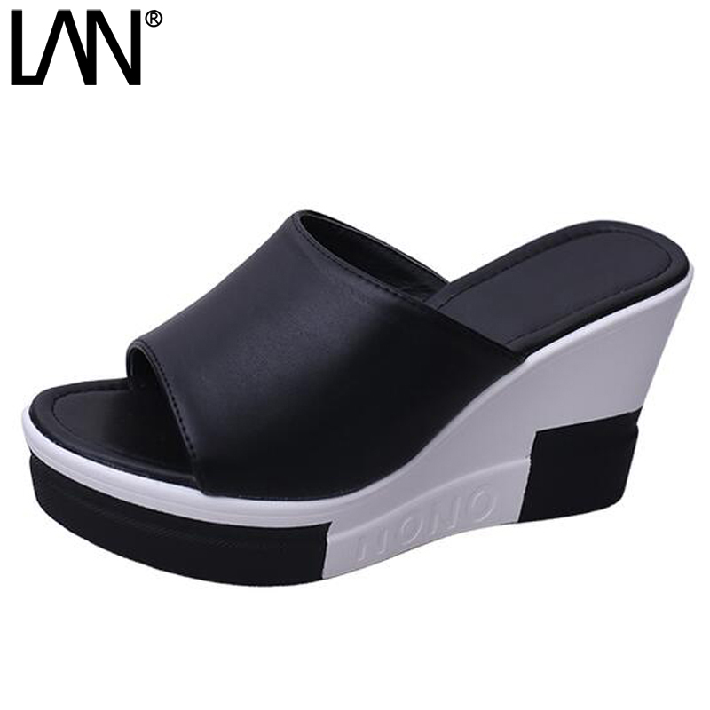 LANSHULAN 2017 New Women Sandals Peep Toe Fashion Slip On Faux Leather Comfort Causal Platform Wedges Flip Flops Patchwork lanshulan wedges gladiator sandals 2017 summer peep toe platform slippers casual glitters shoes woman slip on flats creepers