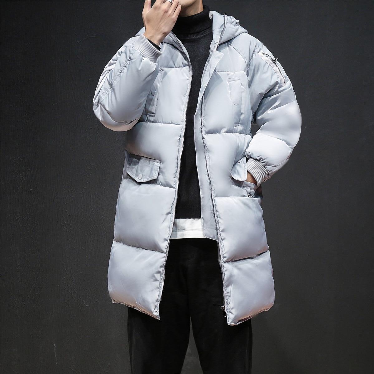 5xl Noir Nouvelle Populaire Noir Argent Personnalité Mode M Casual Grande Hiver Longue Jeunes argent Hommes Taille Lâche De Veste Sauvage X1U0XFn