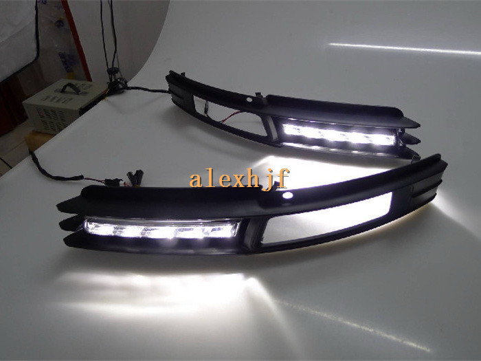 July King LED Daytime Running Lights DRL with Fog Lamp Cover, LED Fog Lamp Case for Audi A6 A6L 2009~2011 1:1 replace  B-type july king led daytime running lights drl with fog lamp cover led fog lamp case for lander rover freelander ii 2011 13 1 1