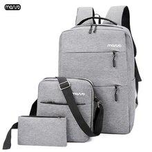 3 قطعة/المجموعة/مجموعة من MOSISO حقيبة ظهر للحاسوب المحمول 15.6 بوصة حقيبة سفر رجالية مزودة بمنفذ USB للشحن حقيبة ظهر للمراهقين بسعة كبيرة مضادة للماء