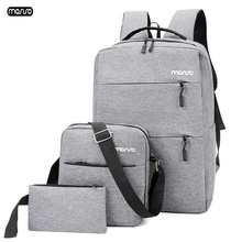 Рюкзак MOSISO мужской для ноутбука 15,6 дюйма, дорожный ранец с USB зарядкой, вместительный водонепроницаемый, для подростков, 3 шт./компл.