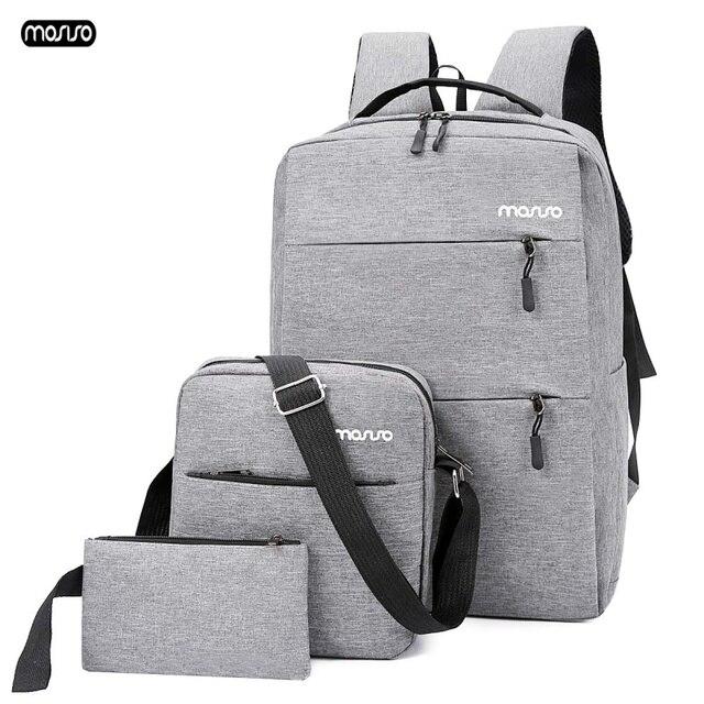 MOSISO 3 stks/set 15.6 inch Laptop Rugzak USB Opladen Mannen Rugzak Grote Capaciteit Tiener Mannelijke Mochila Terug Waterdichte