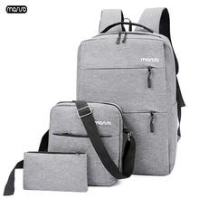 MOSISO 3pcs/set 15.6 inch Laptop Backpack USB Charging Men Travel Backpack Large Capacity Teenager Male Mochila Back Waterproof