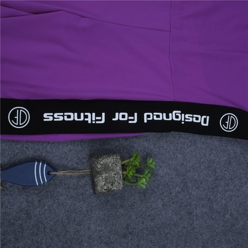 Wysokiej Jakości Centrum Sporting Akrylowe Patchwork Body poprzeczne pasy powrót Playsuit Kombinezon Macacao Kobiet Fioletowy I Szary 16