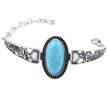 Bohemian Antique Silver Color Vintage Elephant Blue Stone Bracelet Bangles For Women Adjustable Fashion Jewelry