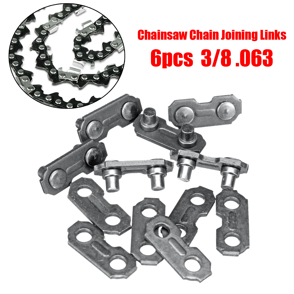 6Pcs Stainless Steel Chainsaw Chain Joiner Link Chain Joint For Joinning 3/8 .063 Chains for Chainsaw Parts 16 size chainsaw chains 3 8 063 1 6mm 60drive link quickly cut wood for stihl 039