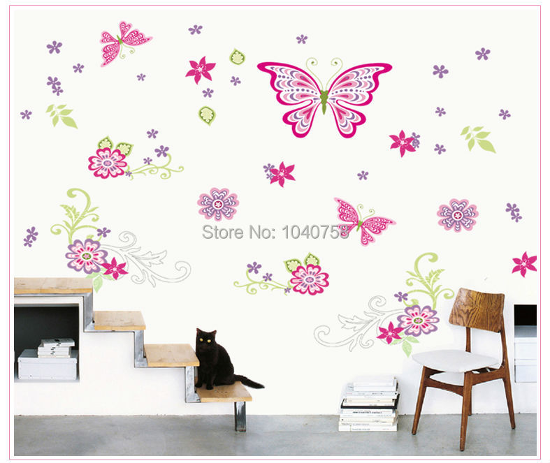 ... Large Paper Flowers Decorative Butterfly Wall Stickers Home Decor  Poster Flower Decoration TV Floral Wall Decals ...