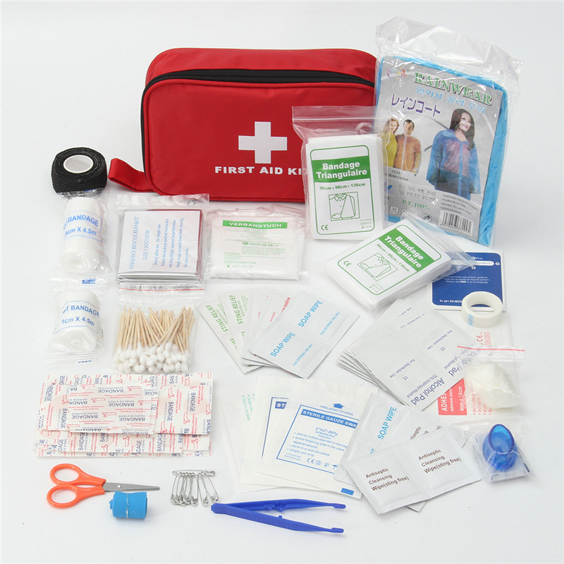 180pcs/pack Safe Outdoor Wilderness Survival Travel First Aid Kit Camping Hiking Medical Emergency Treatment Pack Set 1 set outdoor emergency equipment sos kit first aid box supplies field self help box for camping travel survival gear tool kits