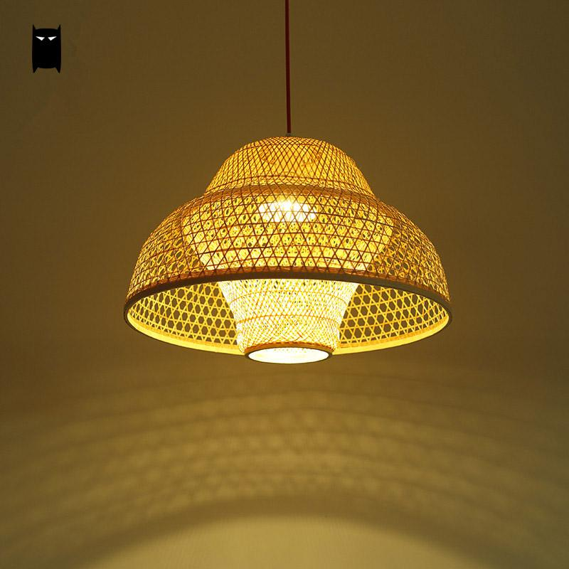 Bamboo Wicker Rattan Flower Lampshade Pendant Light Fixture Rustic Creative Fashion Japanese Hanging Ceiling Lamp for Study Room new arrival modern chinese style bamboo wool lamps rustic bamboo pendant light 3015 free shipping