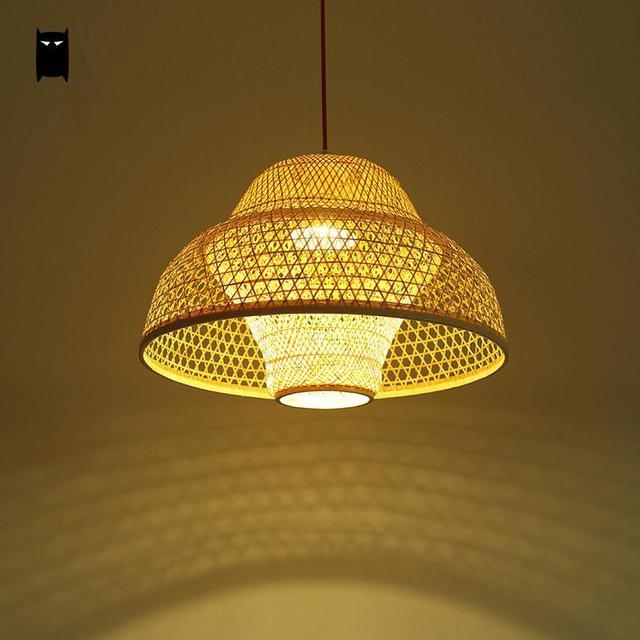 bambou en osier rotin fleur abat jour pendentif luminaire. Black Bedroom Furniture Sets. Home Design Ideas