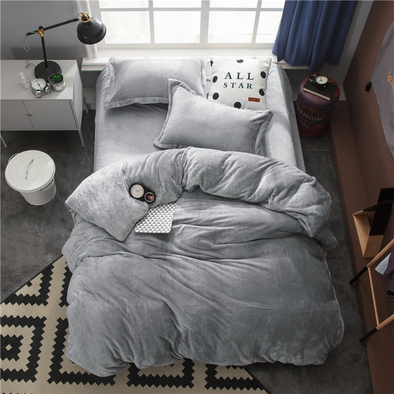 Fleece Warm Twin Full Queen King size Bedding Set Gray Brown Duvet Quilt cover Bed Fitted