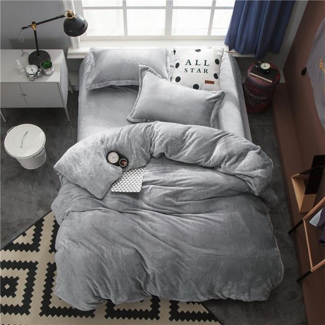 Fleece Warm Twin Full Queen King size Bedding Set Gray Brown Duvet/Quilt cover Bed Fitted sheet set ropa de cama parrure de lit