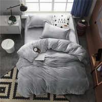 Fleece Warm Twin Volledige Queen King size Beddengoed Set Grijs Bruin Dekbed/dekbedovertrek Bed hoeslaken set ropa de cama parrure de lit