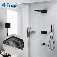 Frap Black Shower Faucet Chrome Shower Set Bathroom Wall Mounted Concealed Brass Shower Mixer Massage Shower Heads Waterfall