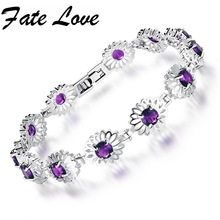 Fashion Flower White Gold Color Copper Bracelet Colorful Round Crystal Zircon Classic Chain Charm Jewelry For
