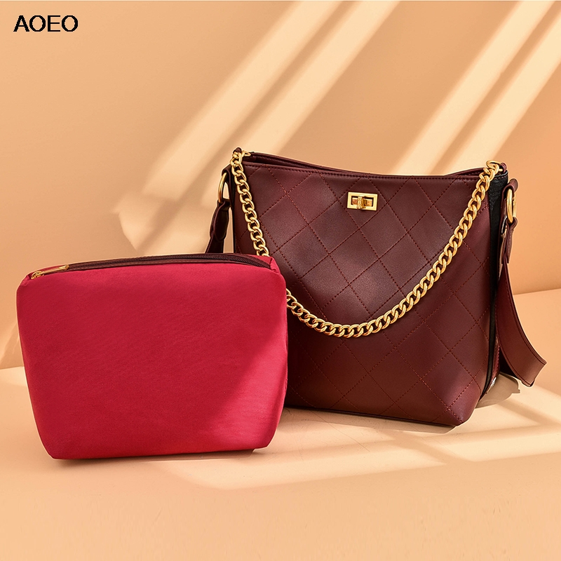 AOEO Women Handbag Split Leather Diamond Lattice Chains Handle Girl Vintage Bag Ladies Luxury Shoulder Bags