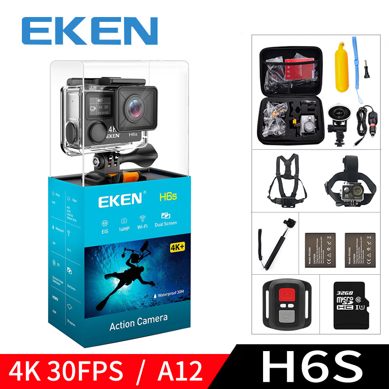 EKEN H6S A12 Ultra 4K 30FPS Wifi Action Camera 30M waterproof 1080p go EIS Image Stabilization Ambarella 14MP pro sport cam eken h8 h8r ultra hd 4k 30fps wifi action camera 30m waterproof 12mp 1080p 60fps dvr underwater go helmet extreme pro sport cam