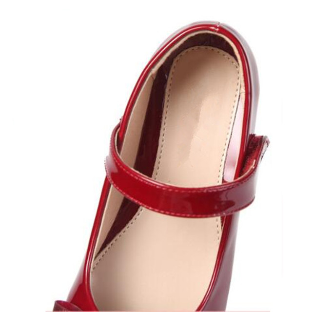 New Spring/Autumn Girls High-heeled Leather Shoes Children Princess Black Student White Dance Party Shoes Kids Red Size 26-39 02