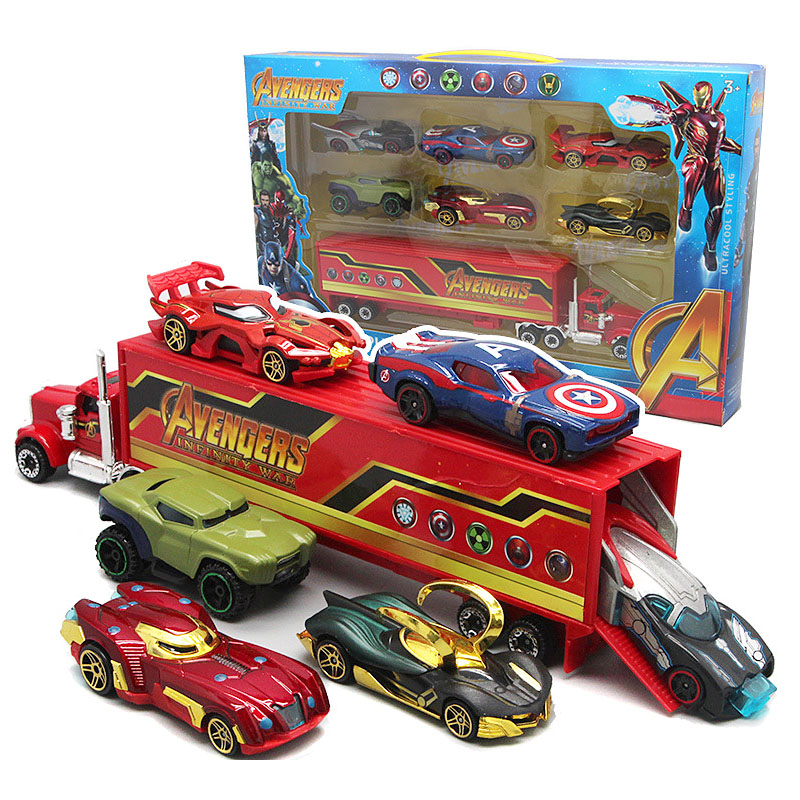 7Pcs/set Avengers  Captain America  Iron Man 1:55 Diecast Vehicles Cars Truck Model Toy Car Christmas New Year Gifts For Kid Boy