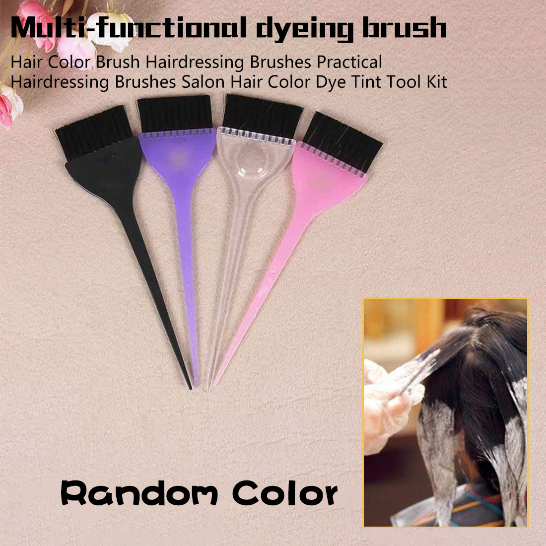 Black Hairdressing Brushes Salon Hair Color Dye Tint Tool Kit New Hair Brush Hair Accessories Drop Shipping