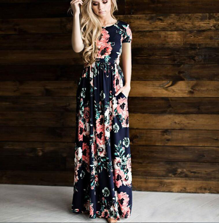 Bohemian Maxi Dress 2018 Summer Floral Print Elegant Boho Party Beach Long Dresses Women Robe Femme Vestidos Plus Size -/