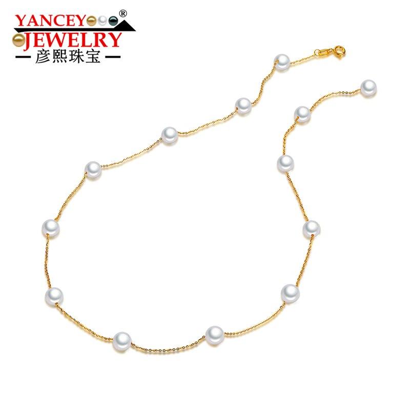 Янси изделия звезды круглый жемчуг, яркий блеск, элегантная мода пресной воды Жемчужное ожерелье леди, 18 К золото, ключицы цепи