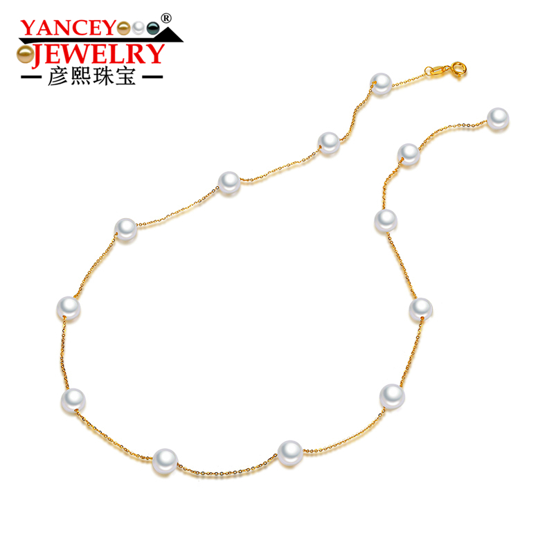 YANCEY JEWELRY Stars round pearls, bright luster, fashion elegant freshwater pearl necklace lady, 18k gold, clavicle chain pearl butterfly clavicle chain