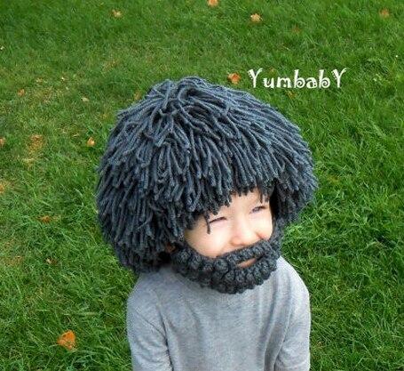 Новый парик борода шапки Hobo Mad Scientist Rasta Caveman ручной работы зимние вязаные мужские шапки маска для вечеринки шапочки для родителей-Детские ша...