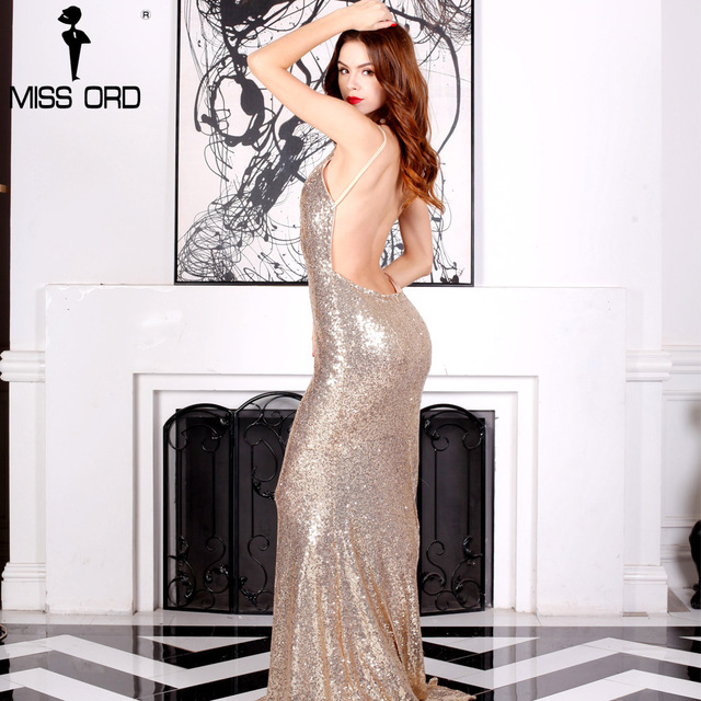 Missord 2017 Sexy halter  V-neck  party dress sequin maxi dress FT4173