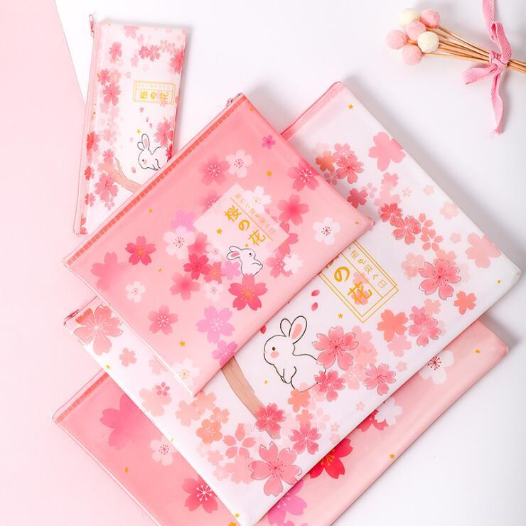 1PC Newest PVC Waterproof Pretty Sakura Cherry A4 A5 File Folder Bag Desk Document Organizer Bags Pencil Storage Case