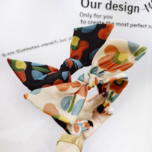 Polka Dot Colorful Bow Knot Headbands For Women Rabbit Ear Hairbands Hair Accessories Flower Bands Head Wrap