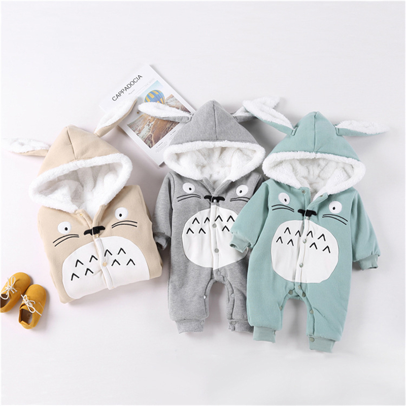 Baby Jumpsuit Winter flannel padded baby plus velvet warm with cap soft comfort even chinchillas pattern dark green   Rompers