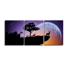 Laeacco 3 Panel Modern Night Moon Tree Canvas Painting Posters and Prints Wall Art Nordic Home Living Room Decoration