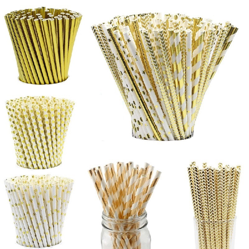 25 Pcs Bronzing Stars Striped Paper Straws Juice Coffee Drinking Straws for Birthday Baby Shower Christmas New Year Party Supply
