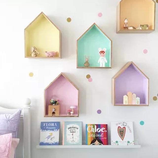 Nordique En Bois Maison étagère Fête Décorations Tenture Murale Mallette De  Rangement Enfants Bébé Filles Chambre